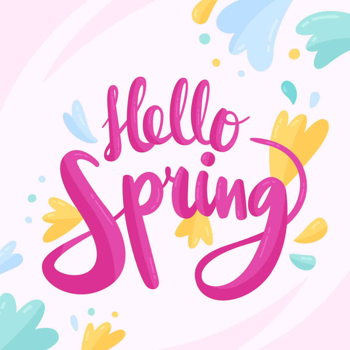 """""""Hello Spring"""" written in bright pink script lettering with colorful flowers in the background."""