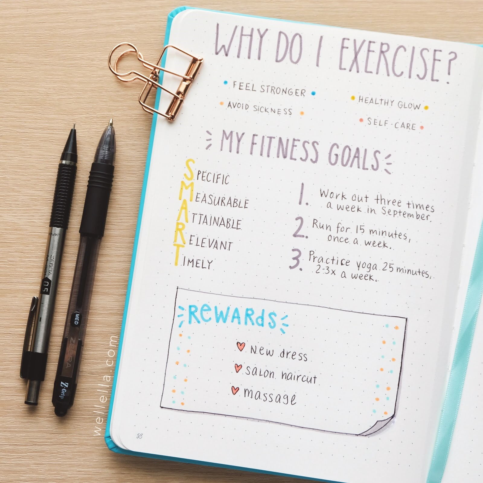 """Fitness goals-themed bullet journal spread with sections on """"why do I exercise?"""" and """"My fitness goals."""""""