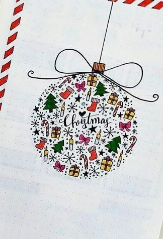 December cover page ornament christmas bullet journal