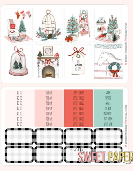 Farmhouse christmas planner stickers