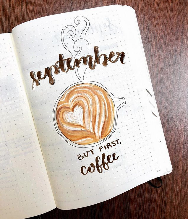September bullet journal coffee cover page