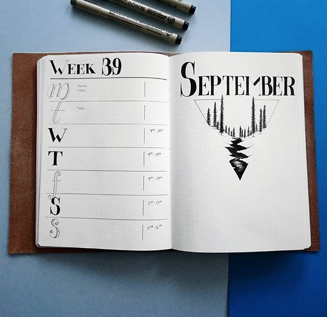 September bullet journal cover page trees