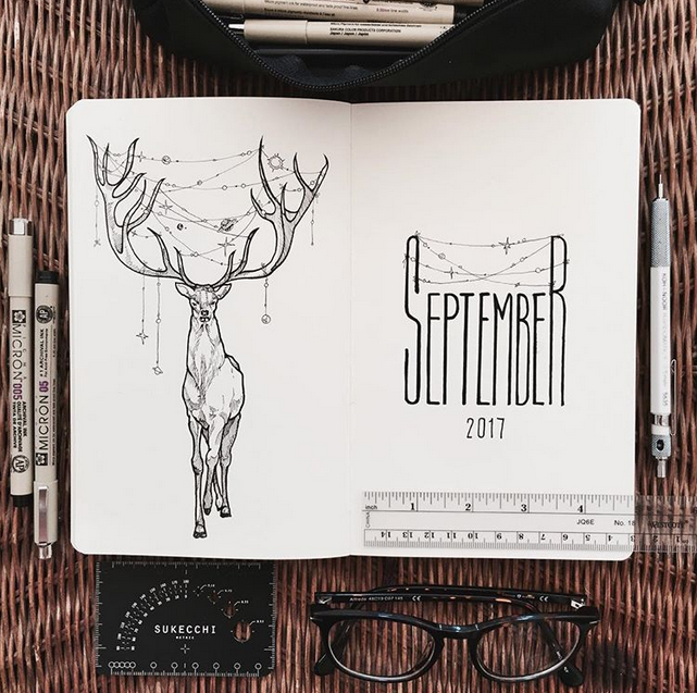 September bullet journal monthly cover page stag