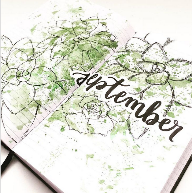 September bullet journal cover page flowers