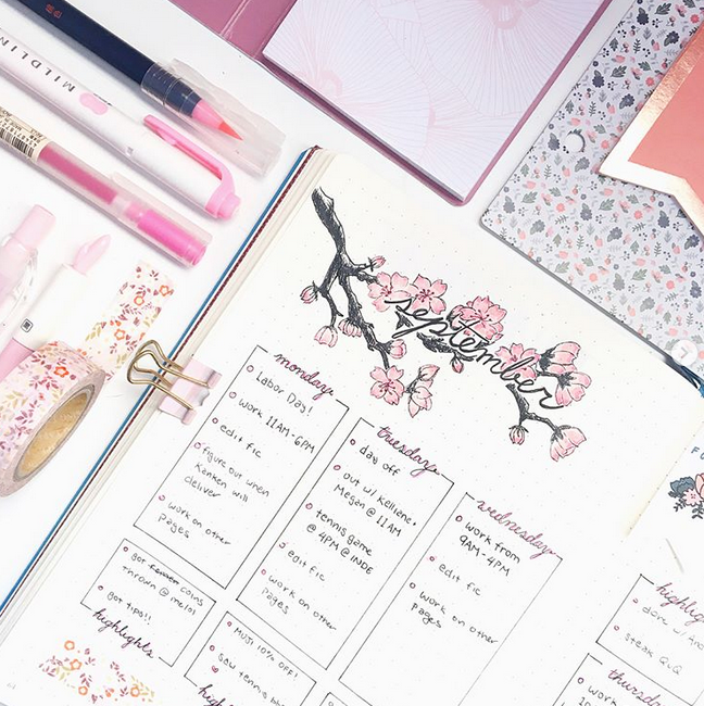 September bullet journal themes weekly spread