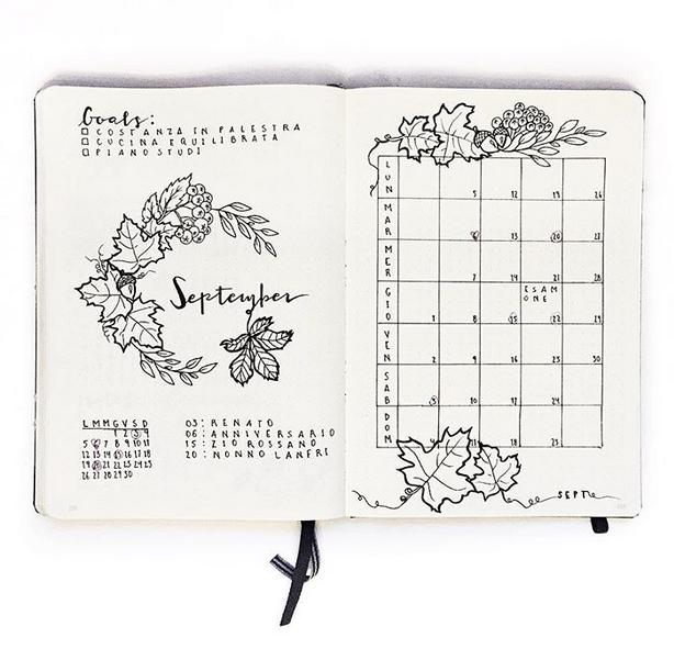 September bullet journal monthly spread fall theme