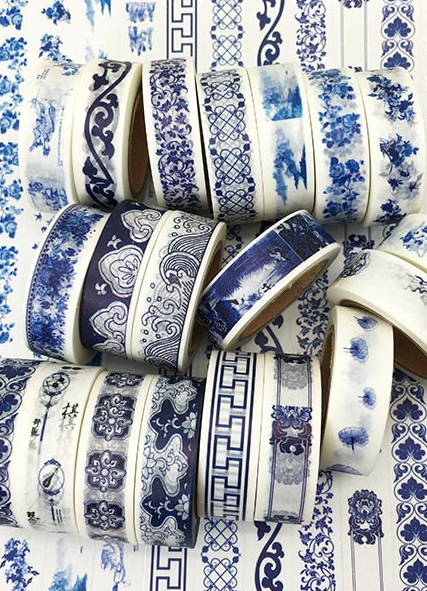 blue and white washi tapes