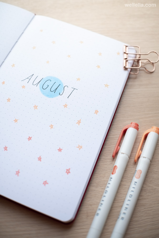 August Bullet Journal monthly cover page