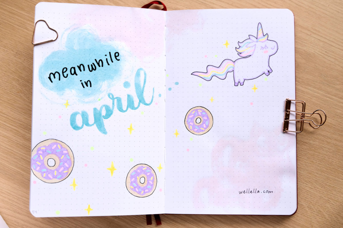 An open notebook with donut illustrations.