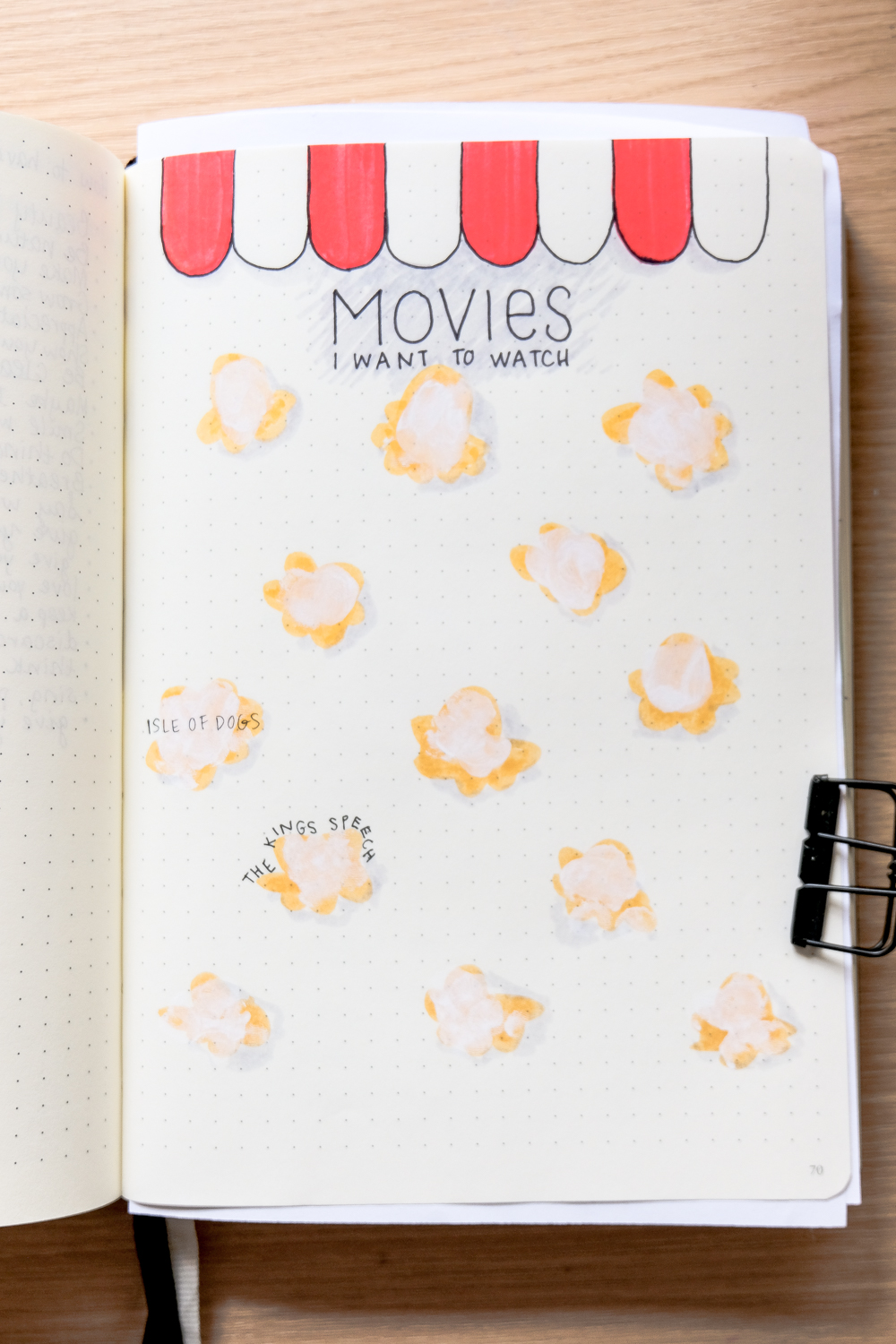 A bullet journal movie tracker idea with drawings of pieces of popcorn.