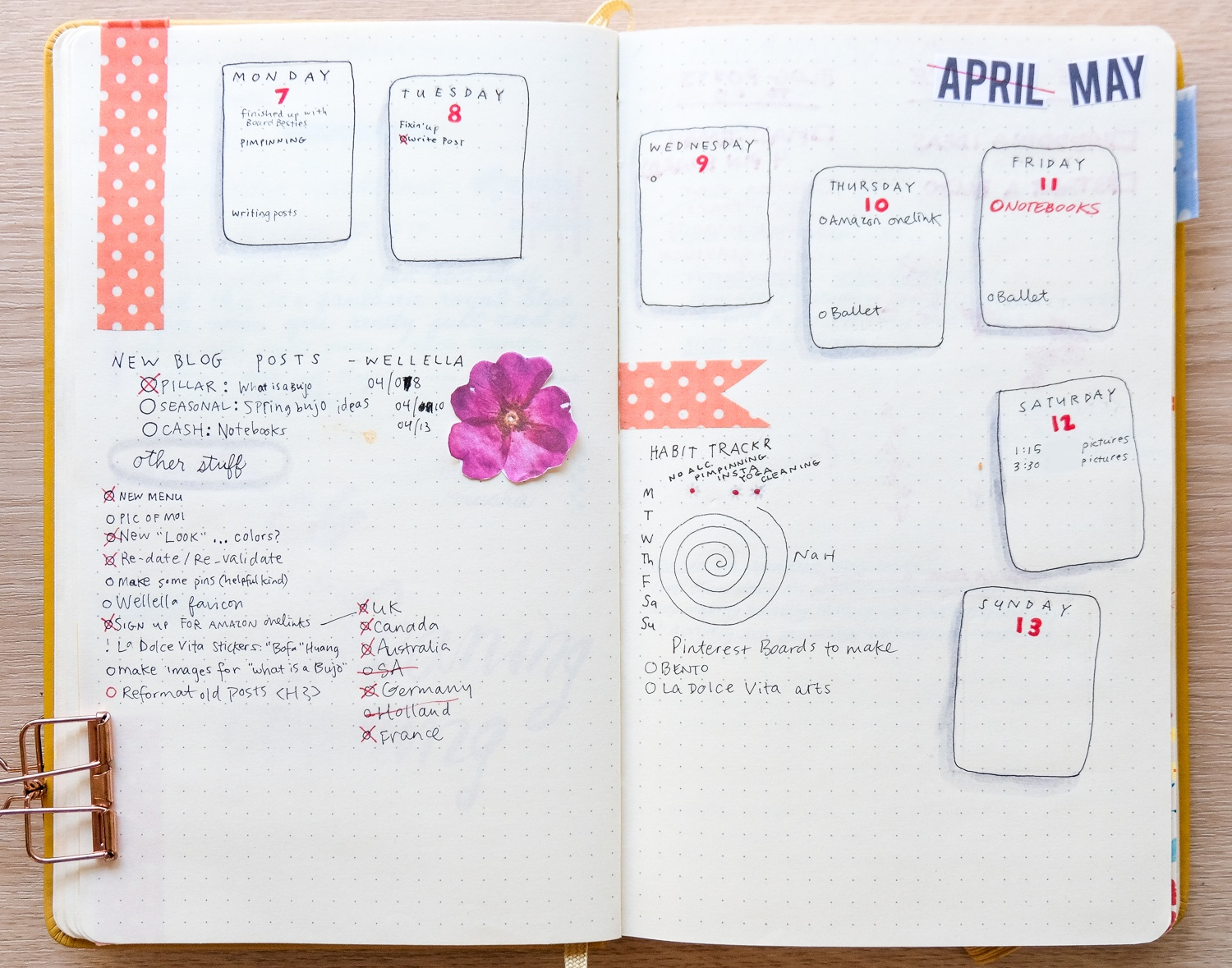 Bullet journal weekly spread with doodles, washi tape, stickers, and cute design.
