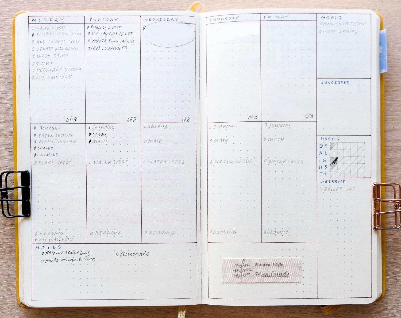 minimalist bullet journal weekly spreads #bulletjournal #minimalistbujo #creativeideas #diy #bujojunkies