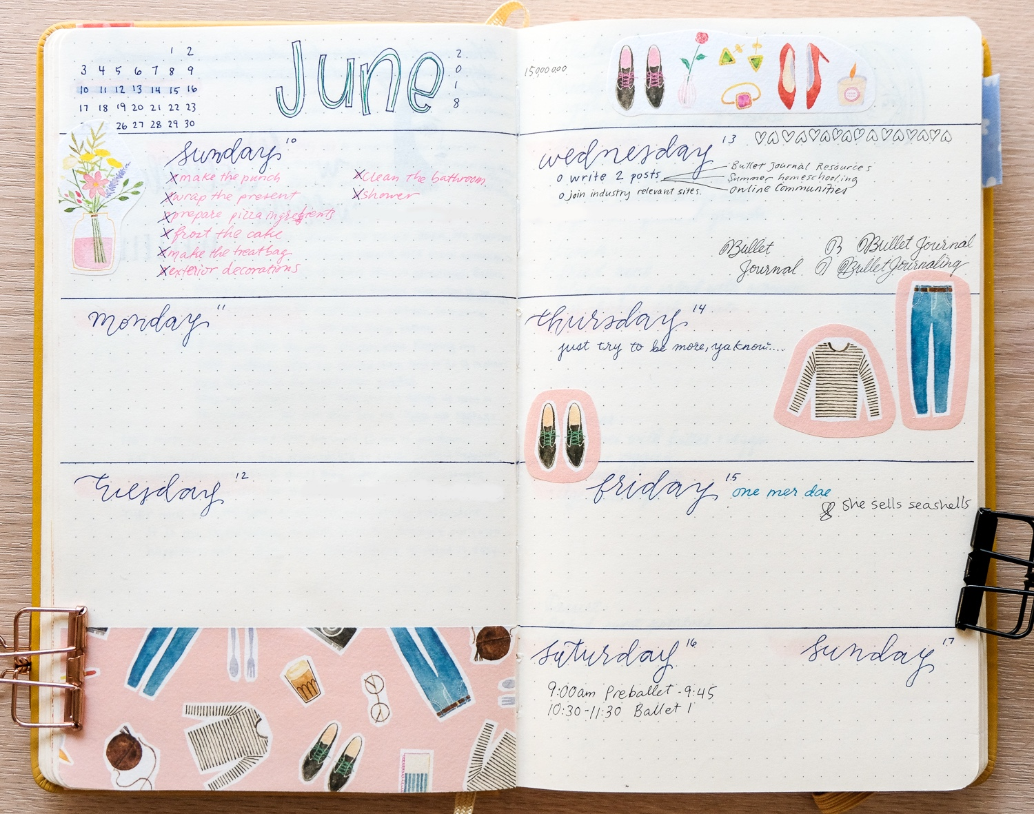 bullet journal weekly spread with hand lettering, stickers with watercolor illustrations.