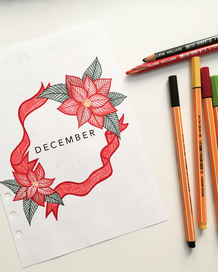 december monthly cover page bullet journal