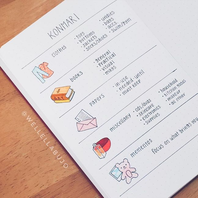 bullet journal konmari method