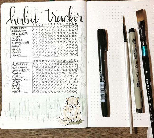 September bullet journal habit tracker nature