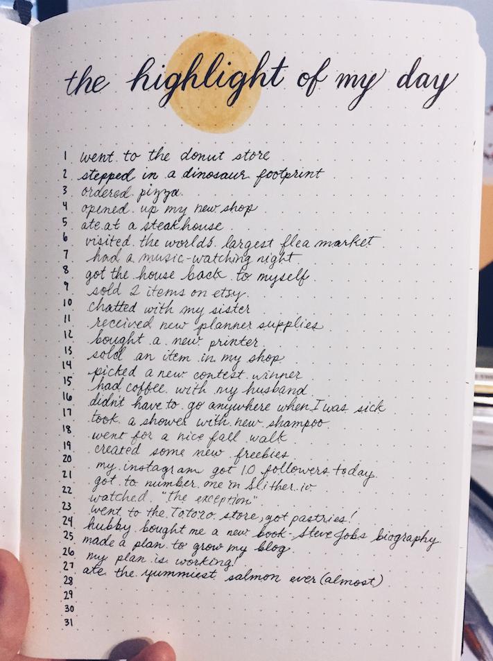 bullet journal highlight of the day