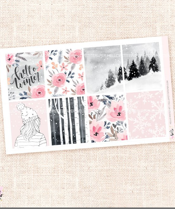 trendy girly planner stickers winter pink and gray