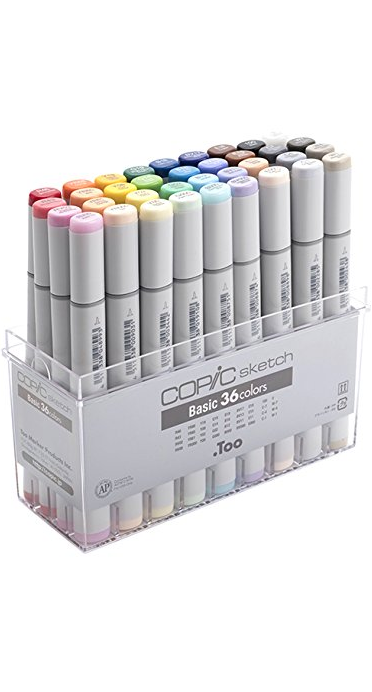 A set of Copic alcohol markers.