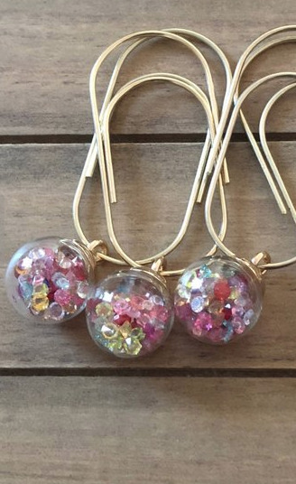 gold clips with beaded glass charms