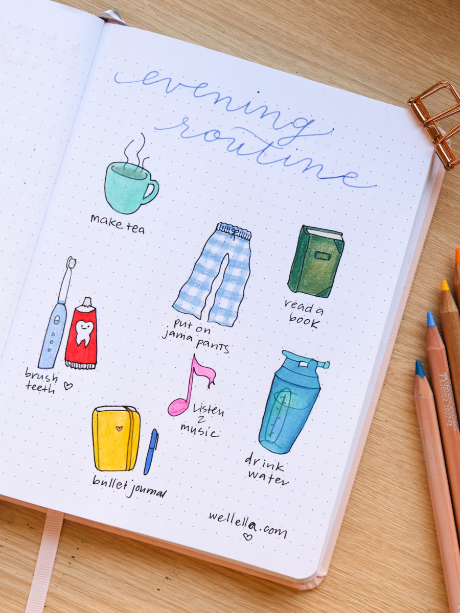 """An illustrated bullet journal page that says """"evening routine"""" in cursive handwriting and shows hand-drawn doodles of a tea cup, a book, pajama pants, a toothbrush, a music note, a water bottle, and a bullet journal."""