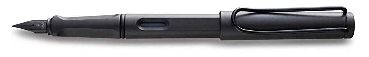 A gray lamy fountain pen.