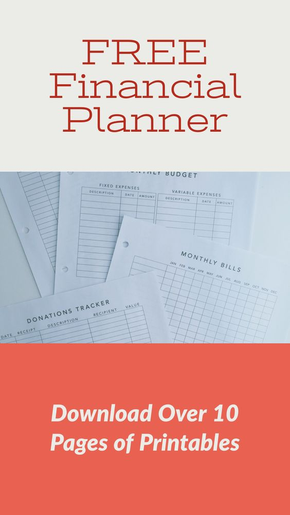 Printed out pages for the financial planner showing budget, bill-tracking and donation tracking charts.