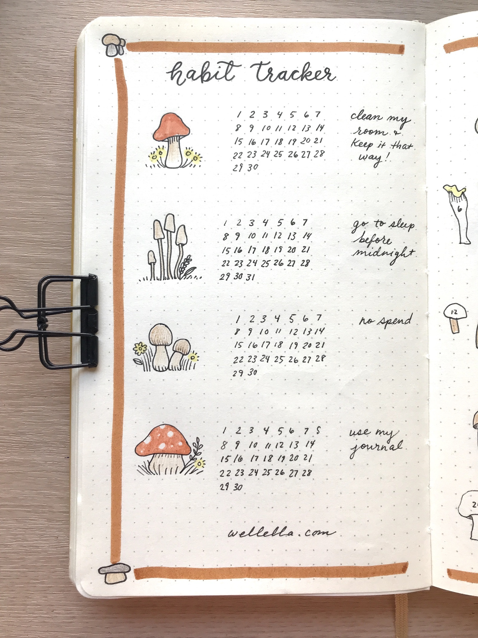 A habit tracker page in a dot grid notebook with hand-drawn mushroom doodles.
