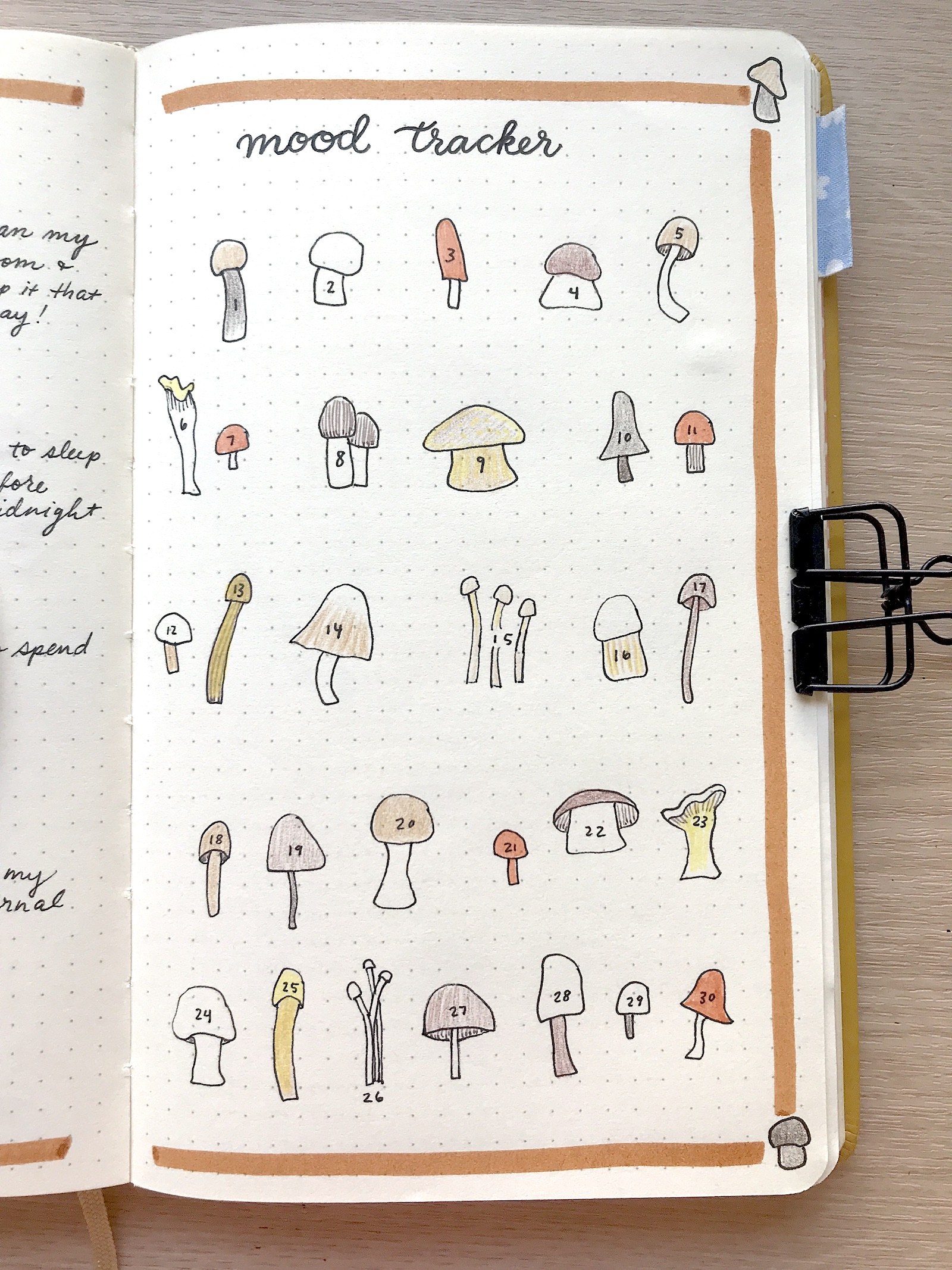 A mood tracker page in a journal featuring 30 hand-drawn mushroom illustrations.